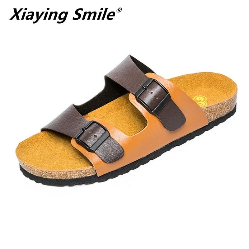 Offre spéciale été classique hommes en plein décontracté appartements sandales en cuir mode été chaussures de plage pas cher boucle sangle antidérapant pantoufles