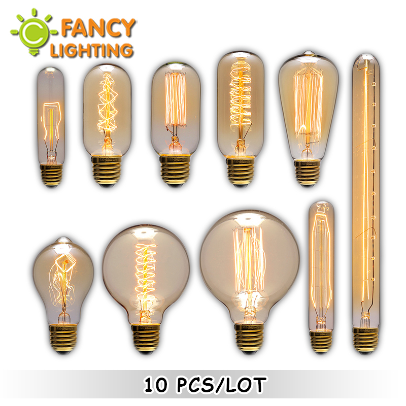10pcs/lot Vintage Lamp E27/E14 Retro Light Bulb 110V/220V Edison Bulb For Home/living Room Decor 40/60W Incandescent Lamp Bulb