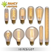 цены 10 pcs/lot vintage edison filament light bulb e27 retro lamp 220v 40w st64 g80 incandescent bulb for home cafe decor Luminaria