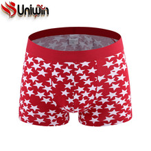 UNIWIN Printed Cotton Men's Underwear Sexy Boxer Shorts Fashion Personality Star Print Underpants RH-1657 Male Trunk Boxers