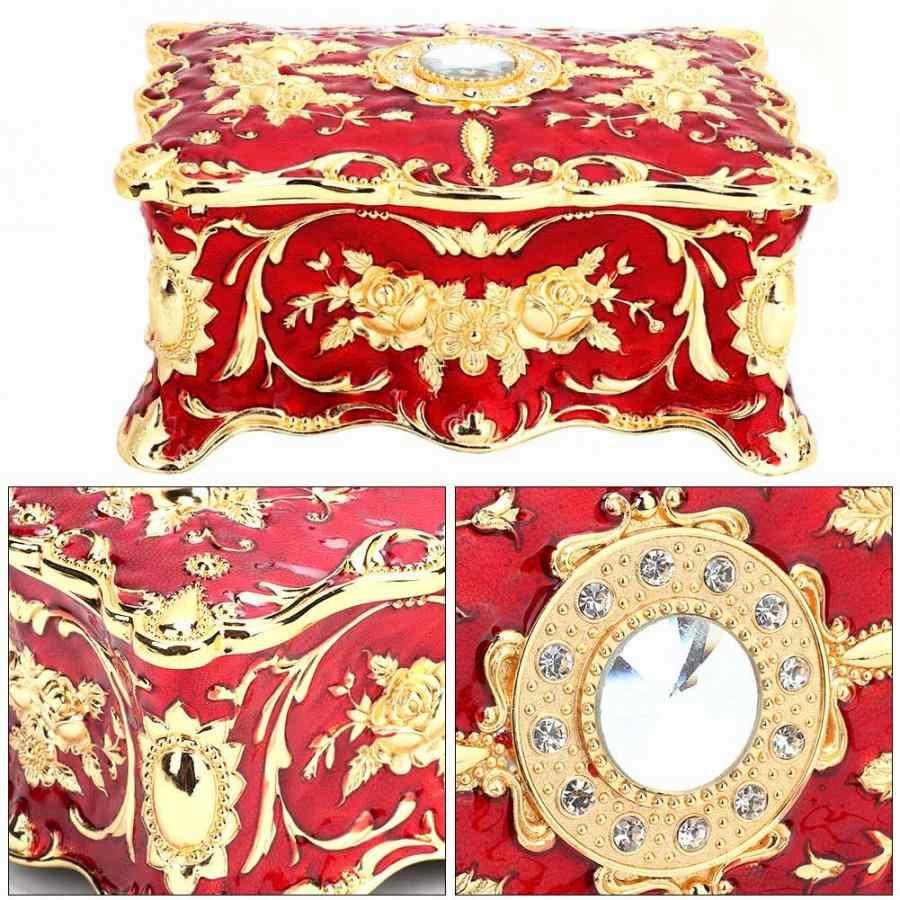 Antique timbre fleur fait à la main Vintage serrure en métal petit organisateur en bois boîte boîte poitrine pour bijoux maison trésor étagère boîte
