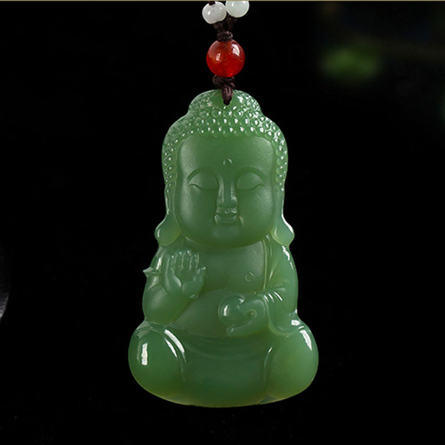 9a3c10b266873 US $228.0 |KYSZDL Manual sculpture Hetian green yu stone Buddha pendant  necklace natural yu stone pendant men/women jewelry free gift box-in  Pendants ...