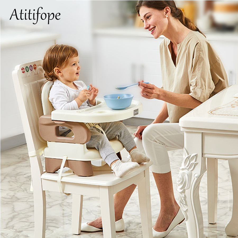 Baby Booster Feeding Seat Comfort Folding Booster Seat With Tray Baby Plastic Adjustable Dining Chair Safety Table Chair