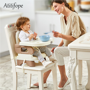 цена на Baby Booster Feeding Seat Comfort Folding Booster Seat with Tray Baby Plastic Adjustable Dining Chair safety table chair