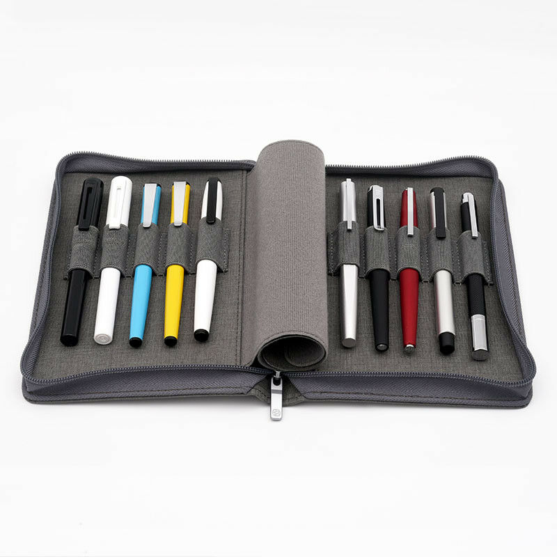 Kaco pen pouch pen case bag Grey Color Business Style 10 Pen Pockets For Penbbs lamy Moonman Delike Office school supplies Pencil Bags     - title=