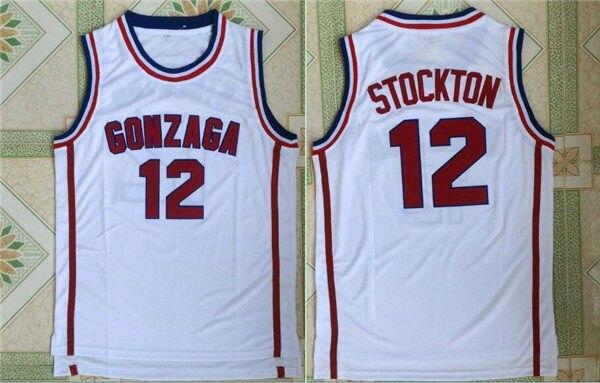 pretty nice e9d0a a56a7 John Stockton Jersey 12 Gonzaga Bulldogs Camisa De Basquete Retro Camisa  Esporte dos homens Tudo costurado em Basquete Jerseys de Sports & ...