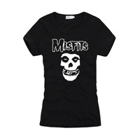 2018 sommer frauen harajuku Stil T-shirt Schädel Gedruckt MISFITS Grafik Casual Tops 100% Baumwolle Oansatz kurzarm T shirts