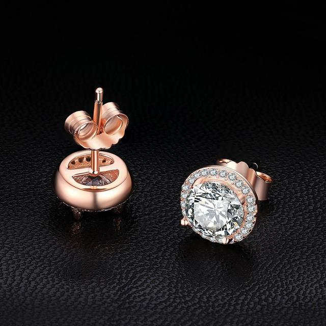CZ Stud Earrings Rose Gold 925 Sterling Silver Earrings For Women
