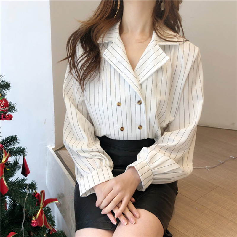 Shirts Women Simple Retro Striped All-match Double-breasted Korean Style Students Notched Womens Elegant Blouses Loose Chic 2019 5