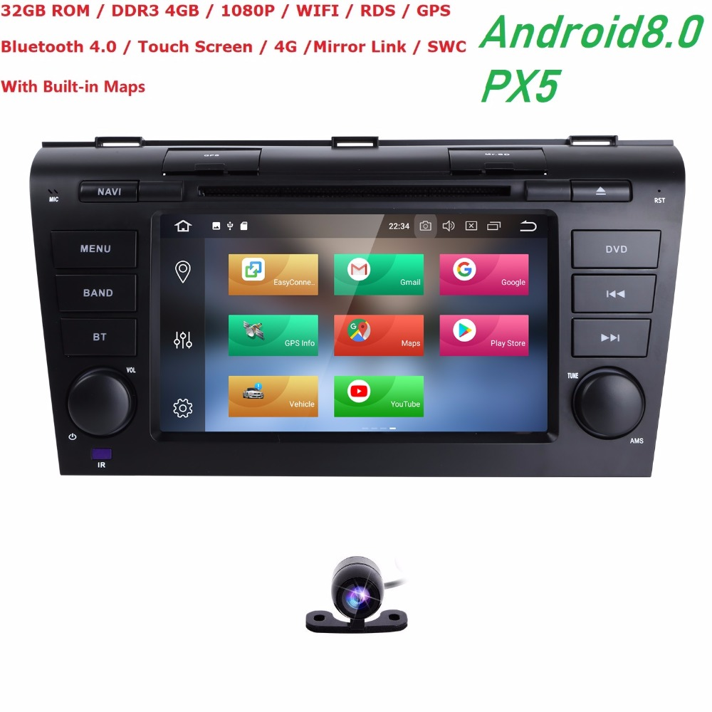 Android 8.0 CAR DVD GPS For <font><b>Mazda</b></font> <font><b>3</b></font> with dvd player radio stereo RAM 4G ROM 32G navigation screen Audio <font><b>multimedia</b></font> OBD2 DVBT DVR image