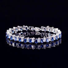 Cubic Zirconia Luxury Charm Bracelets for Women Crystal Double square Geometric Colorful Chains Jewelry Rhinestone Romantic