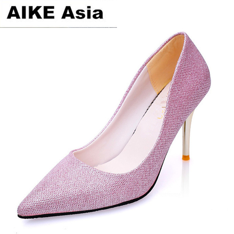 2018 Women Pumps High Heels Silver Glitter Wedding Shoes Woman High Heels Sexy Ladies Shoes Women High Heel Pumps 9.5 aiweiyi women high heels prom wedding shoes ladies gold silver glitter rhinestone bridal shoes stiletto high heel party pumps