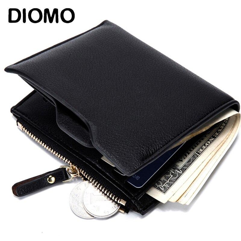 DIOMO RFID Wallet Anti Theft Scanning PU Wallet for Men Small Credit Card Holder Purse tatonka euro wallet rfid black 2955 040