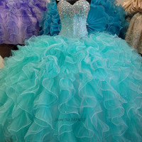 Turquoise Quinceanera Dresses Organza Ball Gowns Crystal Sweet 16 Dress Vestidos de 15 Anos Cheap Quinceanera Debutante Gowns