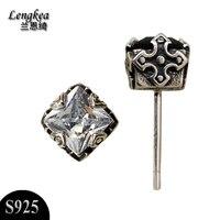Gratis verzending persoonlijkheid cross gothic stijl gemstone oorbellen 925 sterling zilveren sieraden jongens meisjes modieuze accessoires