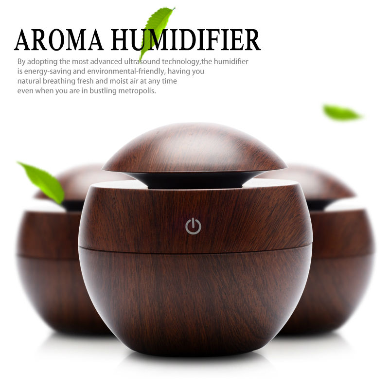 Mini Wooden Aromatherapy Humidifier Aroma Diffuser Air Purifier Color Changing LED  Ultrasonic Mist Maker Humidifiers 130ml usb mini wooden ultrasonic aromatherapy humidifier portable mist maker led light dc 5v aroma diffuser air purifier