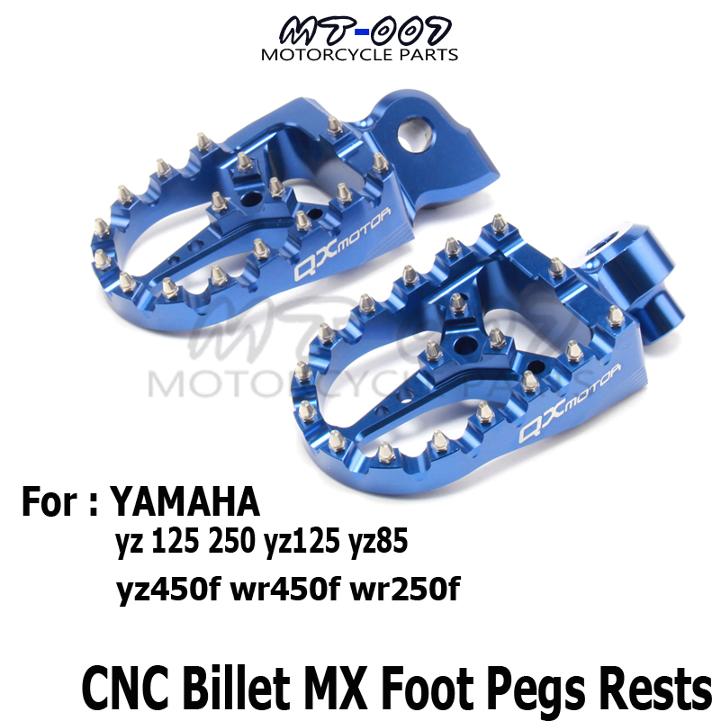 CNC Billet MX Foot Pegs Rests Pedals Footpegs For YAMAHA yz 125 250 yz125 yz85 yz450f wr450f wr250f dirt bike motorcycle parts