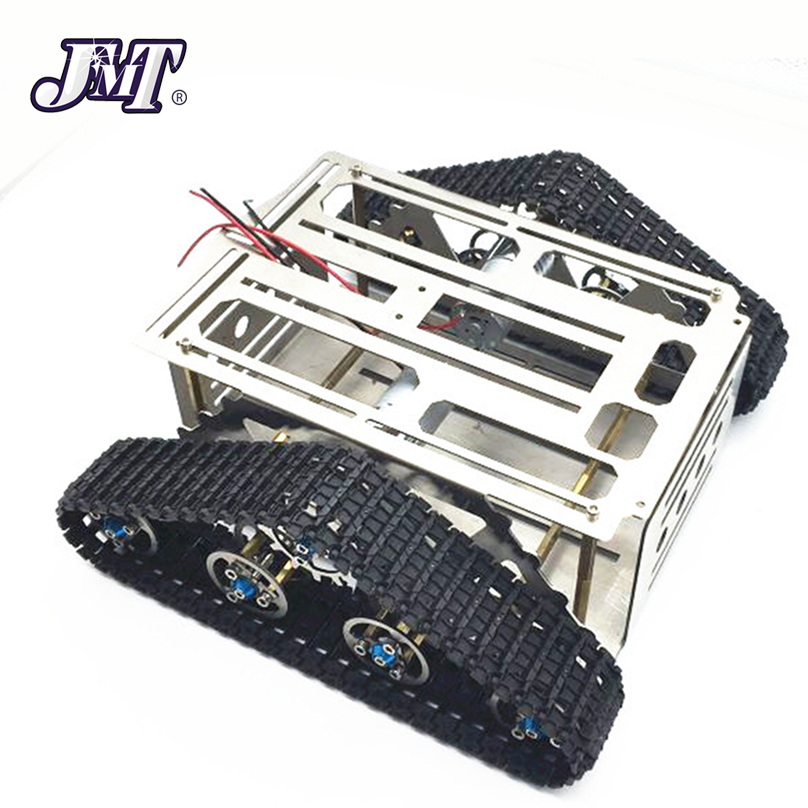 все цены на JMT Metal DIY RC Intelligent Robot Car Aluminum Alloy Tank Chassis Wall-e Caterpillar Tractor Crawler 220*230*85mm онлайн