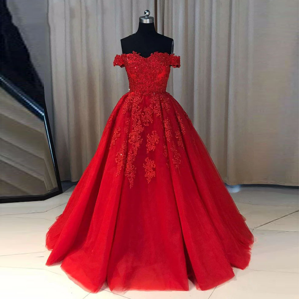 Vintage Red Off the Shoulder   Prom     Dresses   2019 New Lace Appliques Tulle Evening   Dress   Sweep Train Formal Gowns Robe de soiree