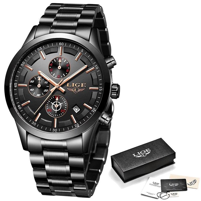LIGE Watch Men Top Brand Luxury Chronograph Sport Watch Quartz Clock Stainless Steel Waterproof Men Watches Relogio Masculino