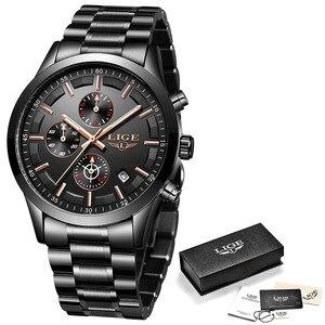 Image 5 - Lige relógio masculino de aço inoxidável à prova dwaterproof água relógios relógio de quartzo relógio de pulso masculino