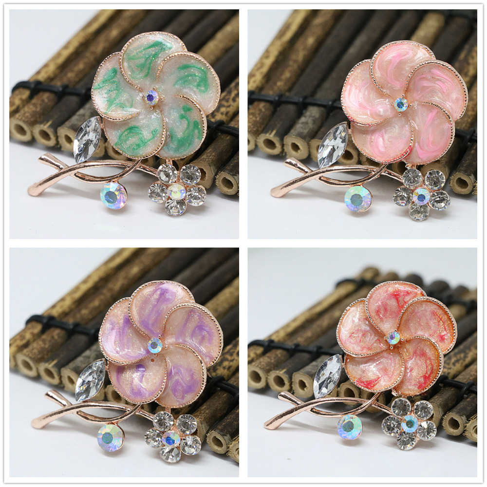 Unique enamel sunflower 8 colors white crystal rose gold plated brooches collar party gift accessories jewelry pins H