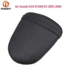 POSSBAY Retro Black Motorcycle Rear Passenger Seat Cafe Racer Seat Covers Pillion Cushion Pad for Suzuki GSX-R1000 K5 2005 2006
