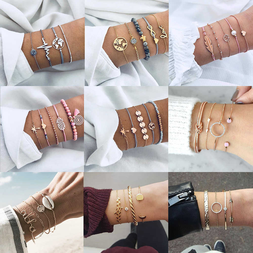 4 Pcs/ Set Classic Arrow Knot Round Crystal Multilayer Adjustable Open Bracelet Set Women Fashion Party Jewelry Multiple Styles