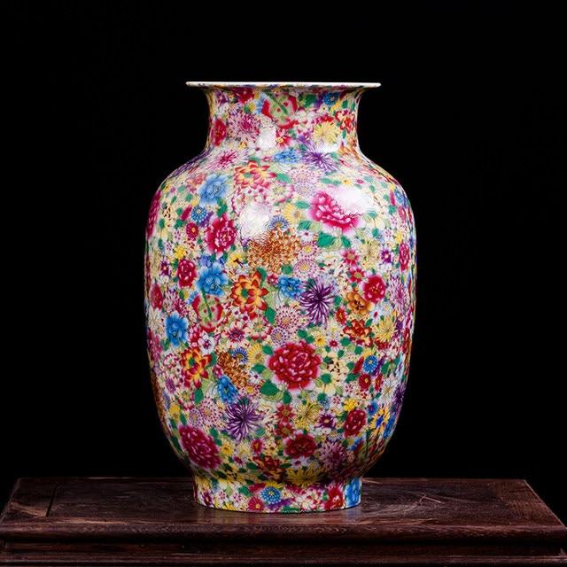 Online Shop Antique Exquisite Ceramics Tall Vase Flowers Sea Chinese