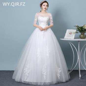 HMHS-61#White half sleeve Bride's wedding dress Ball Gown lace up long wholesale cheap women's clothing party dresses 2019 new