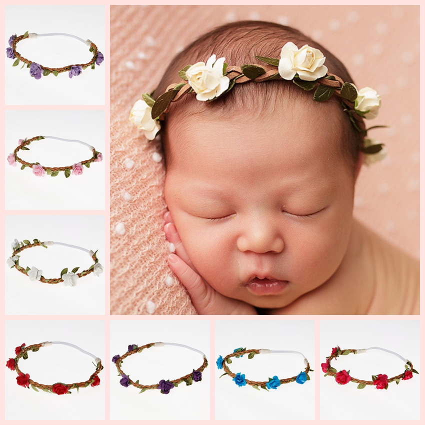 New Fashion Lovely Baby Girls Rose Flower Wreath Hair Rope Princess Crown Headband Floral Hairband Kids Hair Accessories