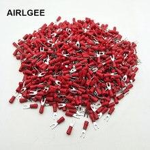 1000 3.2mm parafuso furcate 22-16 awg pré isolado garfo crimp terminal conector para 0.5-1.5mm2 fios de cabo SV1.25-3 frete grátis