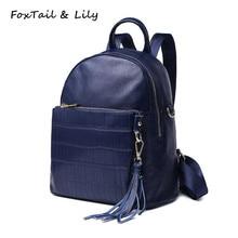 Лисохвост и Лили модный кисточкой крокодил, рюкзак натуральная кожа Многофункциональный Tote плеча дорожные сумки рюкзаки