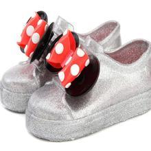 Повседневная обувь для девочек с бантиком и Микки; прозрачная обувь ярких цветов с фруктами; Водонепроницаемая Куртка; сандалии