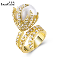(DC1989) Imitation Pearl Party Ring Platinum Plated Top Quality Cubic Zircon Environmental Friendly Material Lead Free