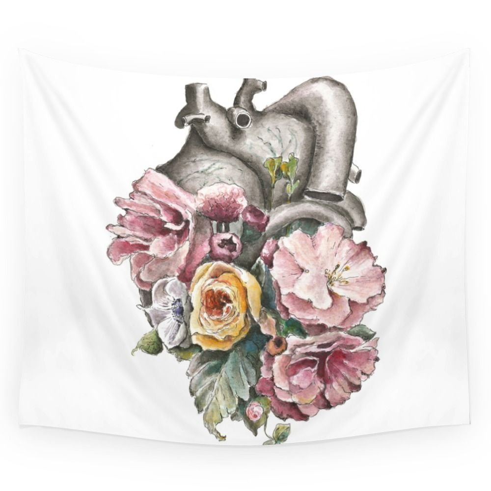 Floral Anatomy Heart Wall Tapestry Medium-in Tapestry from Home ...