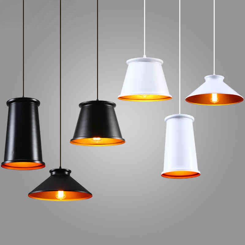 Nordic Pendant Lights Aluminum Black/White Pendant Lamps For Restaurant/Bar luminaire E27 110V  220V Home decor Light Fixtures e cap aluminum 16v 22 2200uf electrolytic capacitors pack for diy project white 9 x 10 pcs