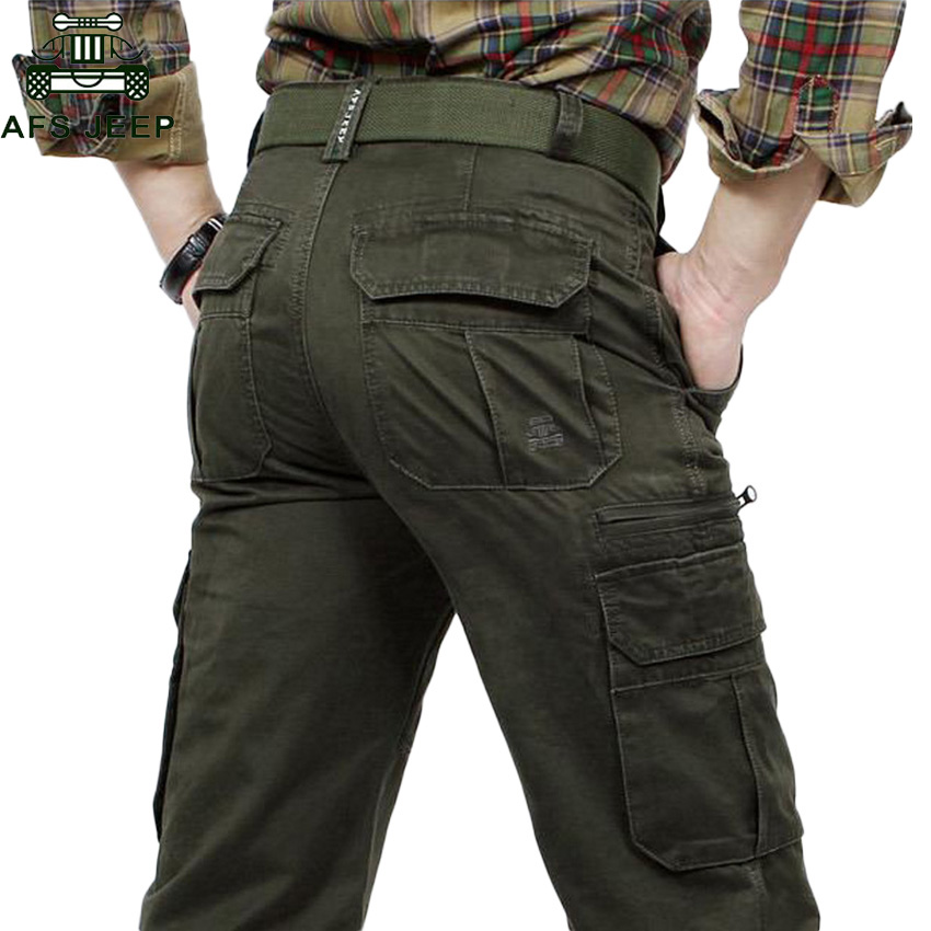 Trousers Cargo-Pants Military Afs Jeep Multi-Pockets Army-Green Straight Cotton Casual