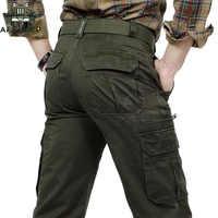 AFS JEEP Uomini di Marca Cargo Pants Army Verde Multi Tasche Combattimento casual di Cotone Sciolti Direttamente Pantaloni Militari, Pantaloni pantaloni Tattici