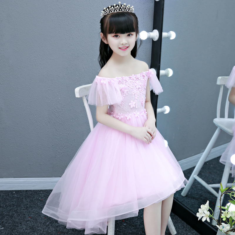 Summer Sweet Pink Color Children Kids Birthday Wedding Party Princess Lace Flowers Dress Model Show Girls Piano Pageant Dress 2018 new korean sweet autumn summer children baby birthday wedding party prom dress kids girls pink color flowers pageant dress