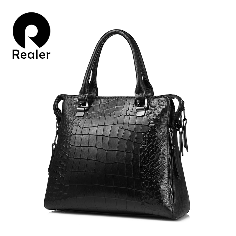 REALER brand women handbag genuine leather tote bag for work briefcase luxury alligator embossed leather top-handle shoulder bag