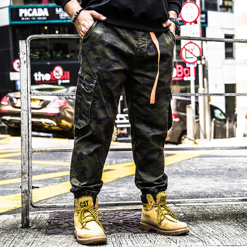 Kamuflaj Pantolon Moda erkek Ayak Bileği Uzunluk Pantolon Büyük Boy 5xl 6XL Elastik Bel Bantlı Hip Hop Streetwear Camo Kargo jogger
