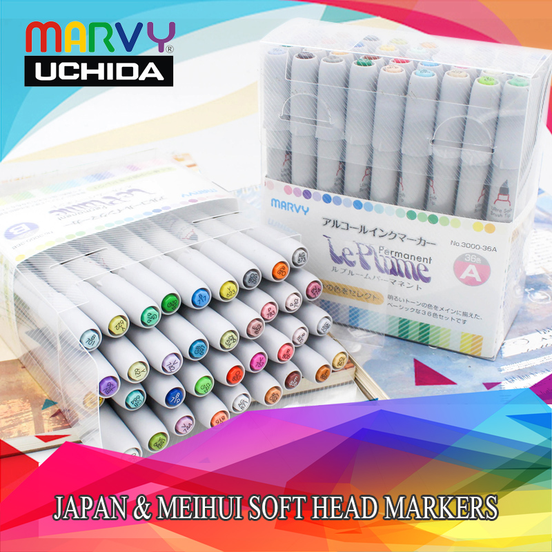 Marvy 3000 Professional  Brush Soft Head Marker Pens Manga Colores Brush Markers Pen 12/24/36/72/144pcs Set For Art SuppliesMarvy 3000 Professional  Brush Soft Head Marker Pens Manga Colores Brush Markers Pen 12/24/36/72/144pcs Set For Art Supplies