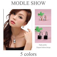 Princess Gold-color Hoop Earring for Women White/Black CZ Crystal Zirconia Earing Jewelry E302