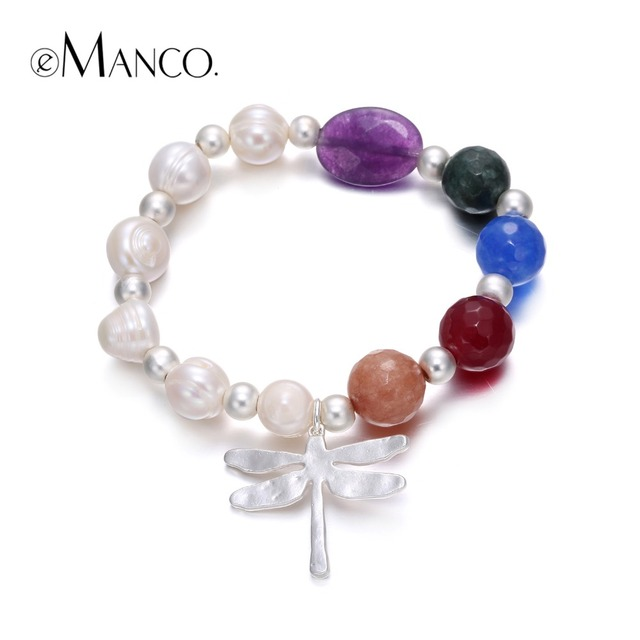 eManco Fashion Ethnic Colorful Dragonfly Handmade Bracelets & Bangles for Women Imitation Pearl Semi-Precious Stone Jewelry