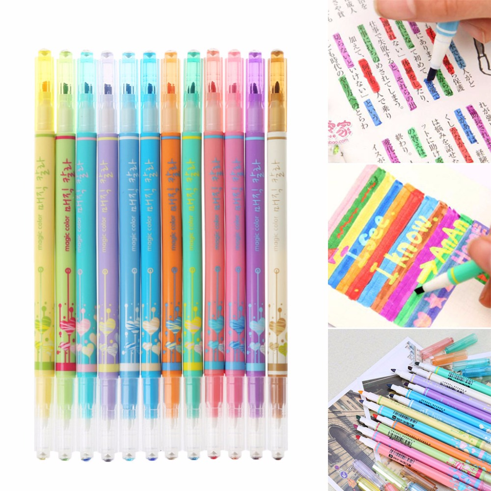 12Pcs/set Diamond Highlighter Double Change Color Magic Graffiti Marker Pen Highlighters School Office Supply C26 image