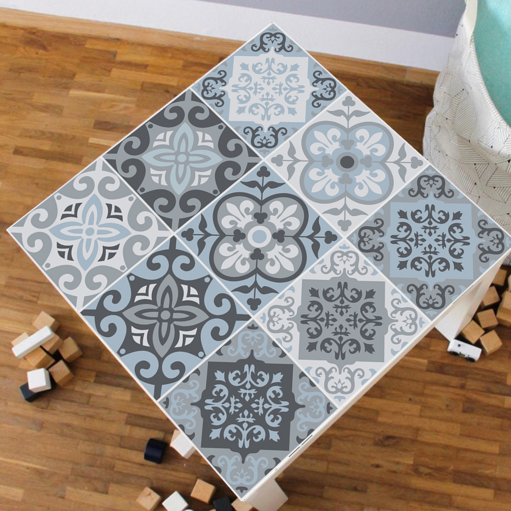 55x55cm blue grey mediterranean tile pvc tablecloth for living room bar self adhesive contact paper waterproof art table sticker