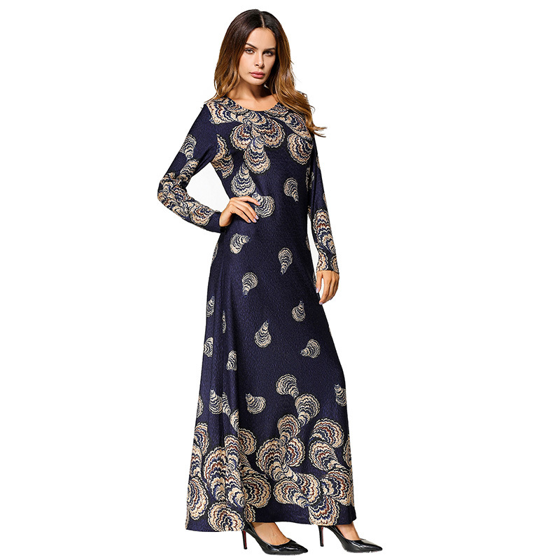1865451 Euramerica Printed Long Skirt Splicing Hooded Long Sleeve Slim Fit Dress Middle East Long Vestidos Mujer in Islamic Clothing from Novelty Special Use