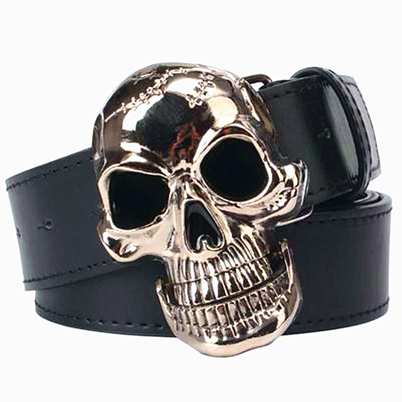 Punk belt Big skull head belt silver plating skeleton skull faced mens leather belt cool punk style skull head buckle