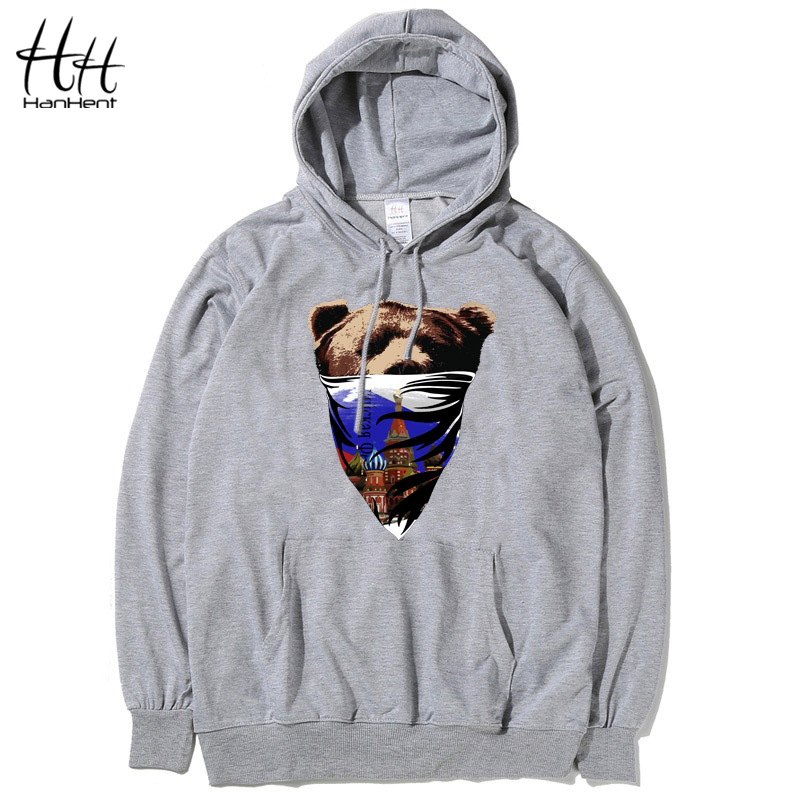 HanHent Russian Style Moscow Brown Bear Thin Mens Hoodies And Sweatshirts Brand Clothing 2016 Autumn Top Quality Sweatshirt Male